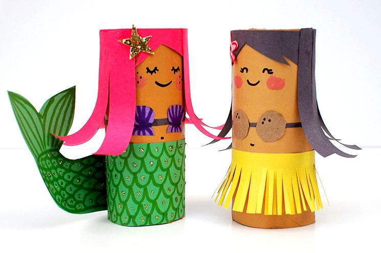 Русалочка и гавайская Девочка из картона