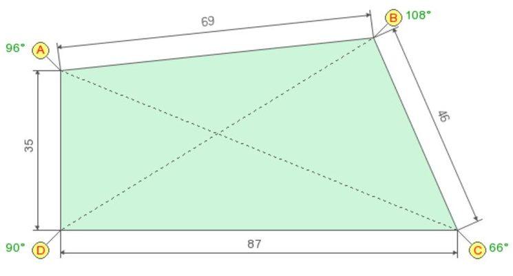 Как рассчитать площадь участка сложной формы