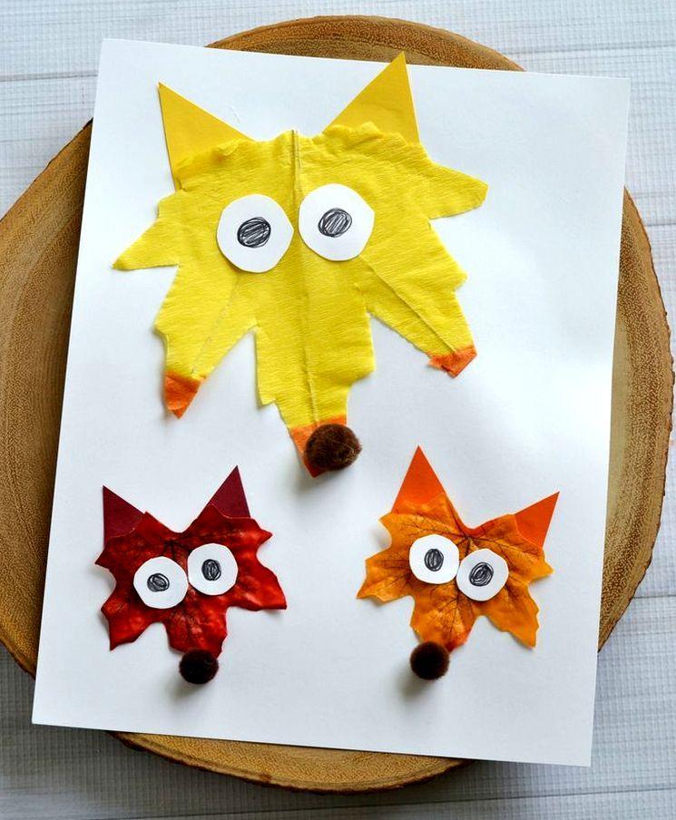 Что сделать из бумаги и листьев в детский сад