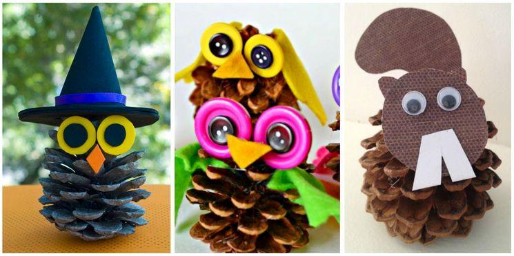 Осенние игрушки в детский сад из шишек и пуговиц