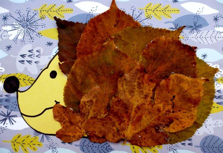 Как сделать ёжика из осенних листьев в садик