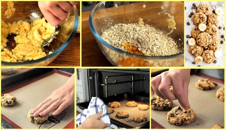 Пошаговый рецепт овсяного печенья с шоколадом и бананом