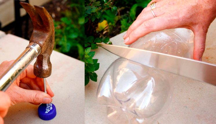 Пластиковая бутылка для полива теплицы
