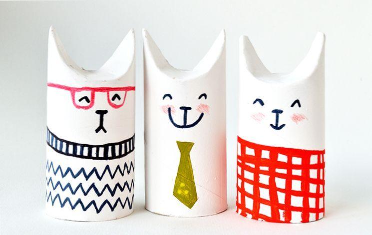 Милые котики из картона и бумаги