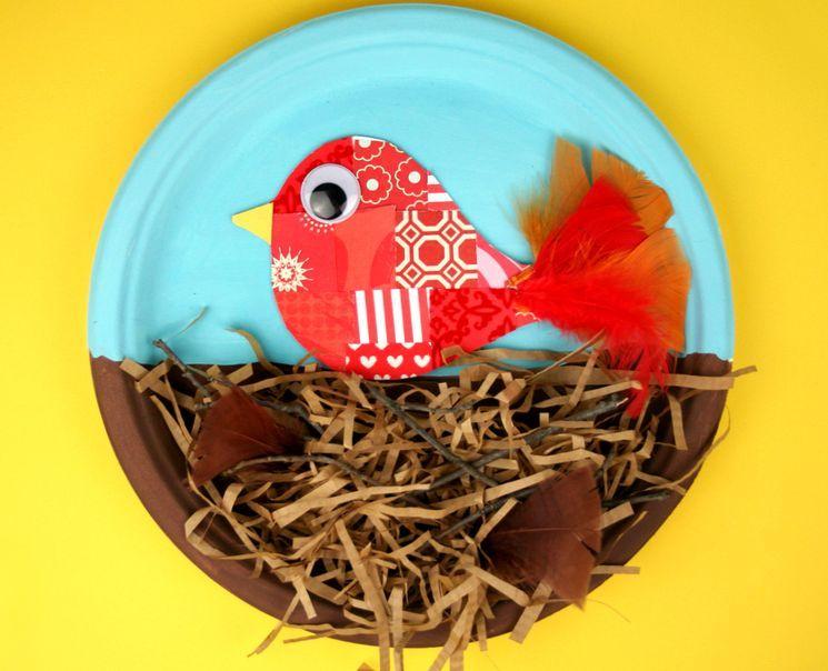 Бумажная поделка - птица и гнездо
