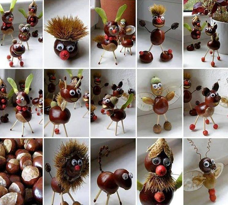 Игрушки в садик из желудей и каштанов