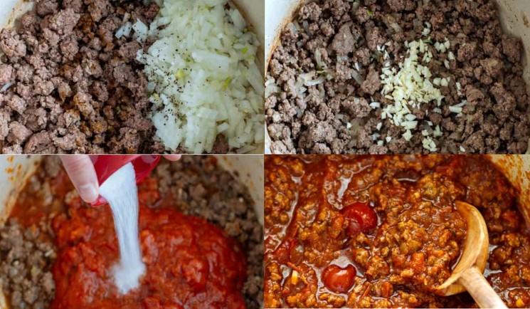 Пошаговый рецепт подливки для спагетти с фаршем