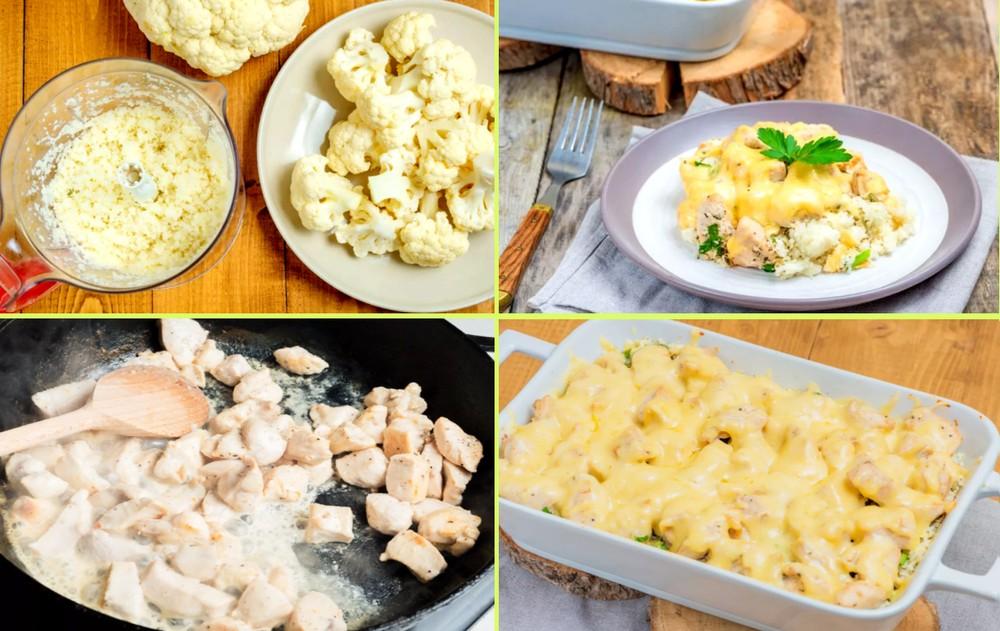 Пошаговый рецепт - запеканка из курицы с цветной капустой