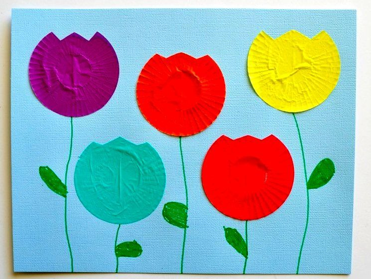 Бумажная поделка - аппликация цветы