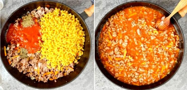 Вкусные макароны с фаршем и подливкой шаг 2